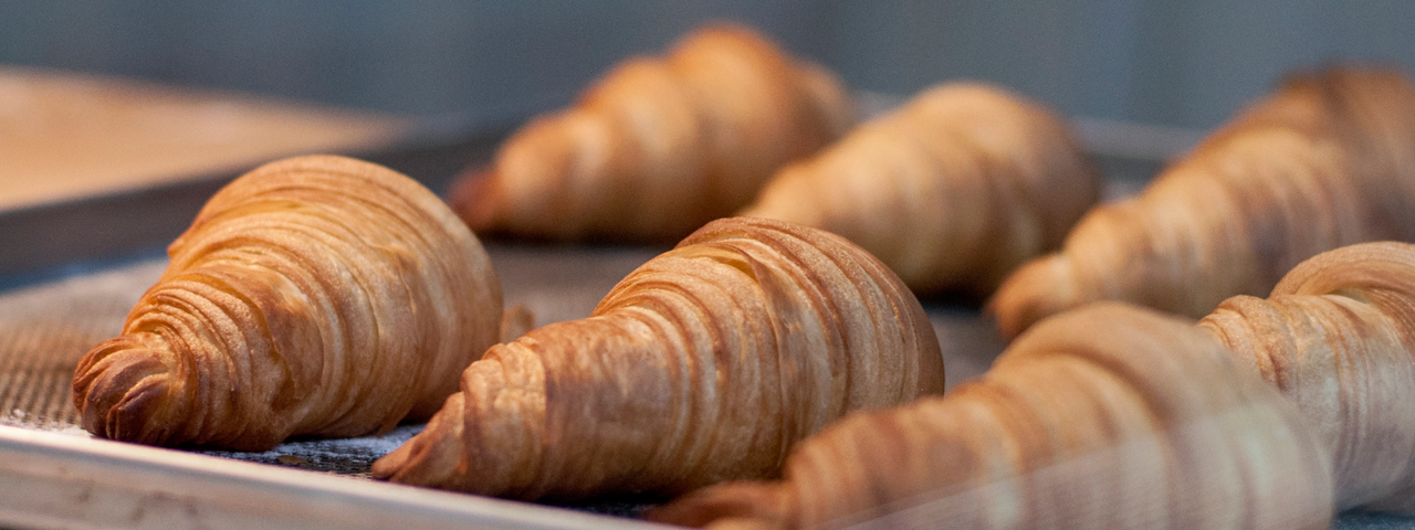 Tray of freshly baked croissants. Enzymes such as amylases, cellulases, enzymes blends and xylanases are used in various Bakery applications.