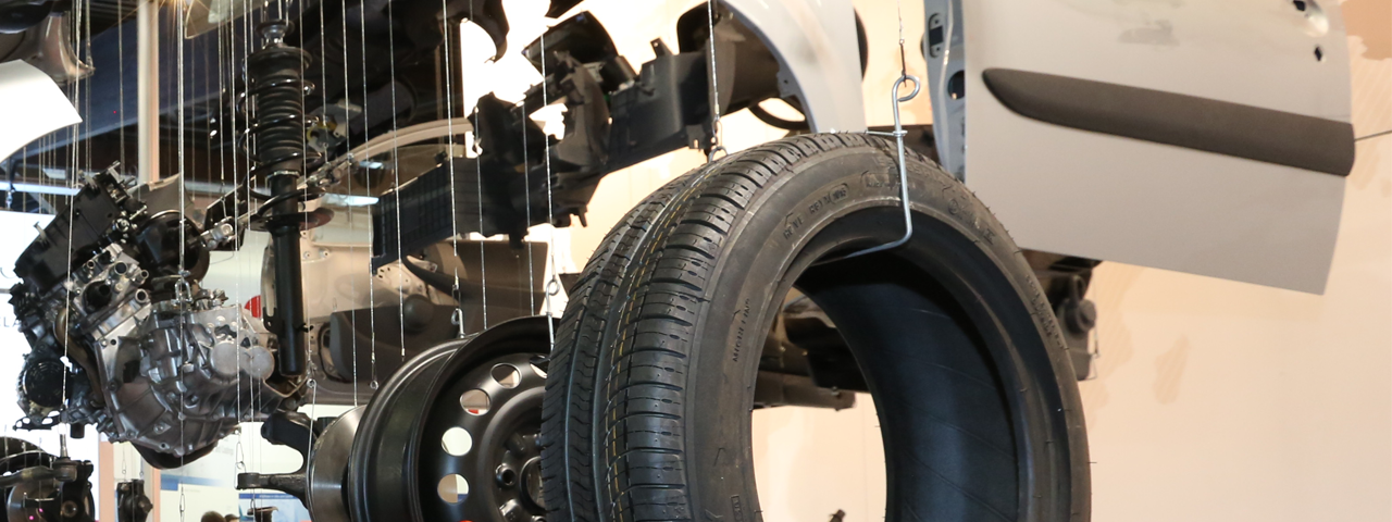 car parts such as tires containing Elastomers for Rubber